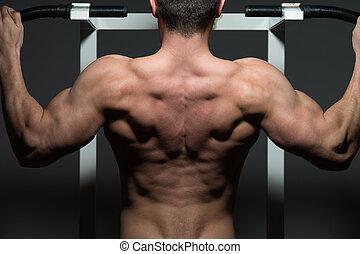 年輕, 男性, 車身制造者, 做, 重, 重量, 練習