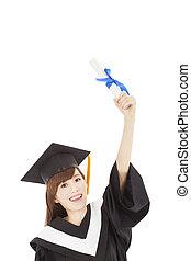 年輕, 畢業生, 女孩子學生, 藏品, 畢業証書, 以及, 舉起手來