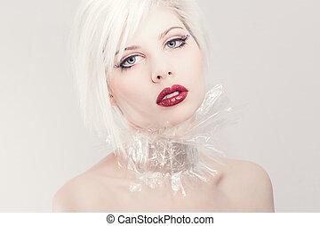 年輕, 白膚金髮, 模型, 在, 塑料