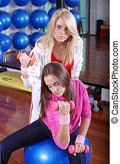 年輕, 相當, 婦女, 行使, 在, a, 健身房