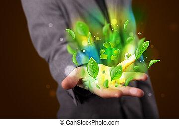 年輕, 穿/戴衣服的商人, 提出, eco, 綠色的葉子, 再循環, 能量, 概念