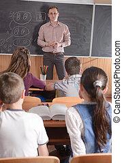 年輕, 老師, 前面, 類別