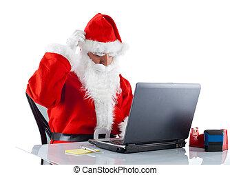 年輕, 聖誕老人, 由于, 筆記本