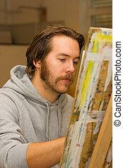 年輕, 藝術家, 圖畫