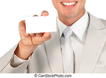 年輕, 迷人, 商人, 藏品, a, 白色, 卡片
