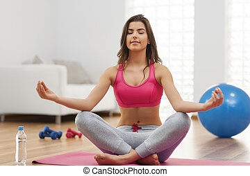 年輕, 适合, 婦女, 做, 瑜伽, 練習