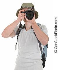 年輕, 遊人, 由于, 照像機