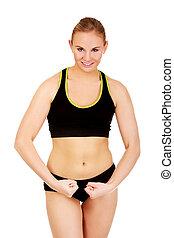 年輕, 運動, 婦女, 屈曲肌肉