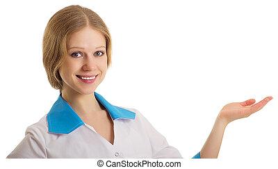 年輕, 醫學的醫生, 婦女, 提出, 以及, 顯示, 模仿空間
