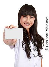 年輕, 醫學的醫生, 婦女, 顯示, 名片
