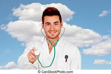 年輕, 醫學的醫生, 由于, a, 聽診器