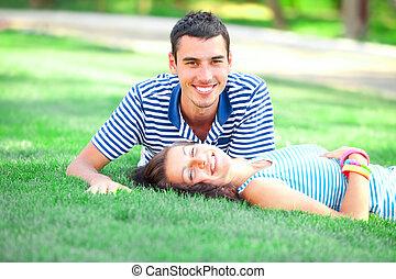 年輕, 青少年的 夫婦, 在, 戶外