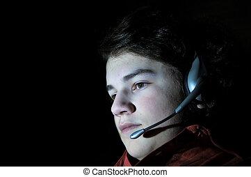 年輕, 青少年, 成人, 由于, 耳機