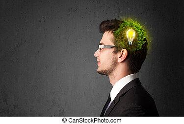 年輕, 頭腦, 認為, ......的, 綠色, eco, 能量, 由于, 燈泡