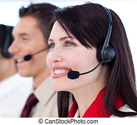 年輕, 顧客服務, 代理人, a, 呼叫中心