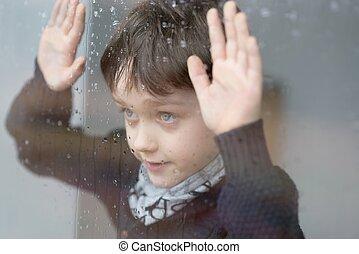 年輕, 7, 歲, 男孩, 站立, 在旁邊, the, 窗口