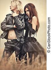 年輕, goth, 夫婦肖像