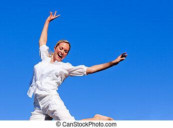 年轻女孩, 在中跳跃, a, 公园