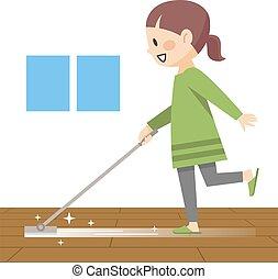 年轻, 地板, 毛巾, 清扫妇女