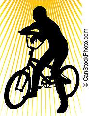 年轻, 女孩, 在上, 自行车