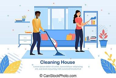 年轻, 房子, 夫妇, 打扫, 一起