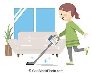 年轻, 房间, 生活, 清扫妇女