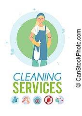 年轻, 打扫, 工作的妇女, 服务