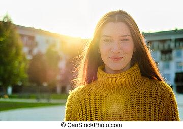 年轻, 肖像, 妇女, 高兴的redhead, 微笑