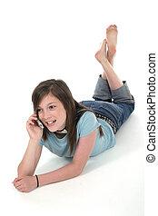 年轻, 青少年女孩, 谈话, 在上, cellphone, 7