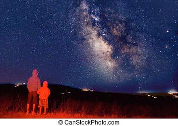 年轻, observers, 看, the, 银河