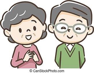 年長のカップルの微笑, イラスト, 幸せ