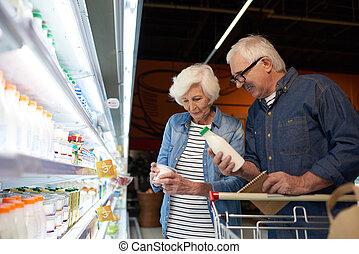 年長のショッピング, 恋人, スーパーマーケット