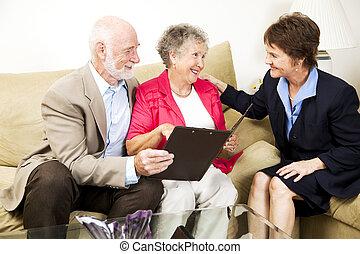 年長の カップル, そして, 女子販売員