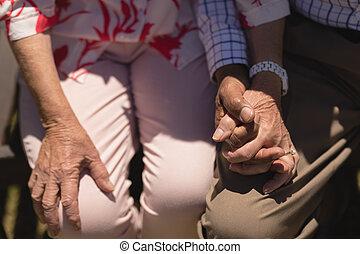 年長の カップル, セクション, 手, 中央の, 保有物