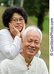 年長の カップル, 屋外, アジア人, 中国語