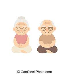 年長の カップル, medeiting