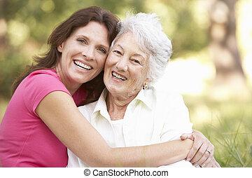 年長の 女性, ∥で∥, 成人, 娘, パークに