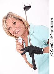 年長の 女性, ゴルフ, 遊び