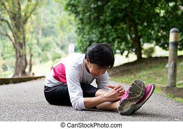 年長の 女性, 公園, 運動