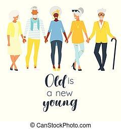 年長の 女性, 年配の男