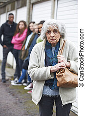 年長の 女性, 感じ, 脅かされる, によって, 若者達のグループ