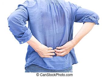 年長の 女性, 持つこと, 腰痛, 後で, 仕事, そして, 汗, 隔離された
