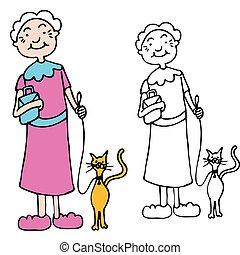 年長の 女性, 歩くこと, ねこ, 上に, 革ひも
