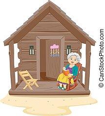 年長の 女性, 浜, キャビン