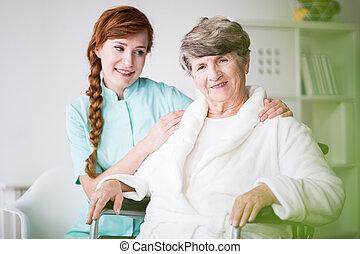 年長の 女性, 私用, carer