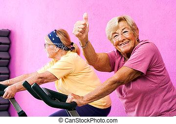 。, 年長の 女性, 親指, フィットネス