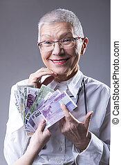 年長の 女性, 豊富, ビジネス