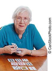 年長の 女性, 遊び, ソリテール