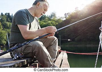 年長者, 做, 人, 釣魚, 準備