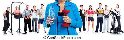 年長者, 健身, 婦女, 由于, 瓶子, ......的, water.